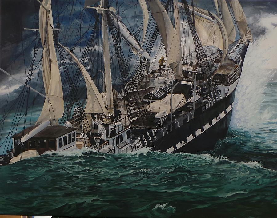 Tall Ship Painting - Tempestuous Odyssey  by Myke Irving