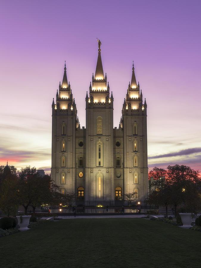 Mormon Photograph - Temple Courtyard by Chad Dutson