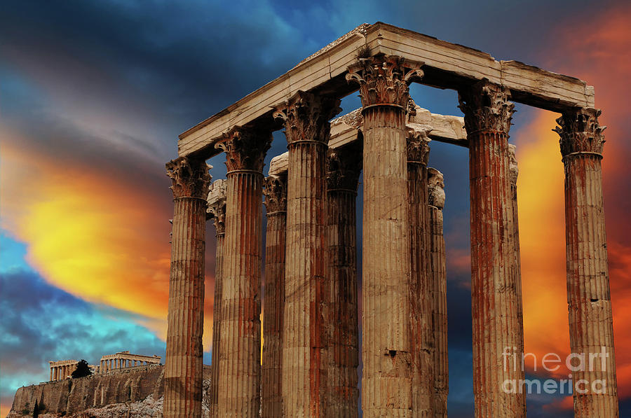 Ancient Photograph - Temple Of Olympian Zeus by Bob Christopher