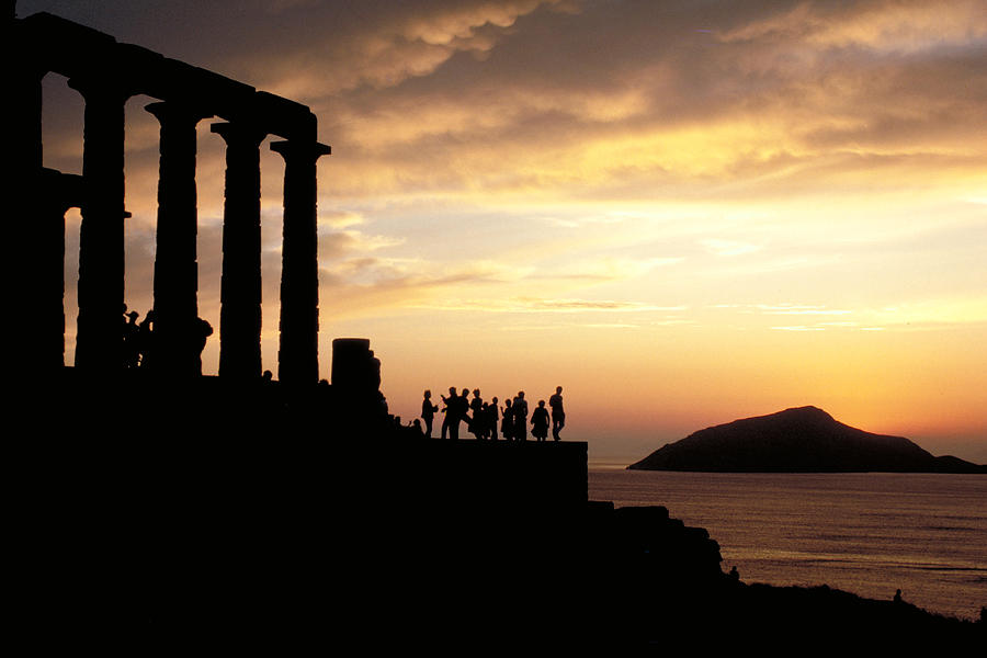 Tourists Photograph - Temple Of Poseiden In Greece by Carl Purcell