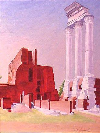 Rome Painting - Temple Of The Castors In The Roman Forum by Gary  Hernandez