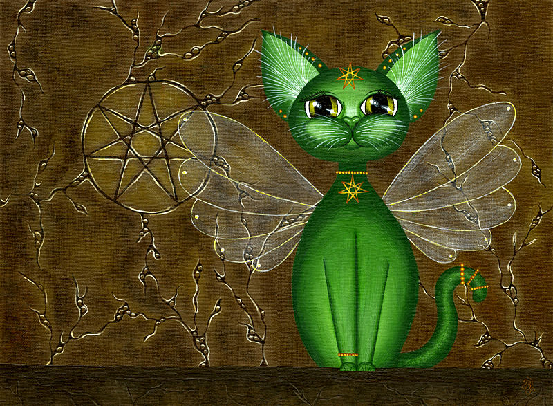 Cat Painting - Temple Of The Fae by Danielle Reeder