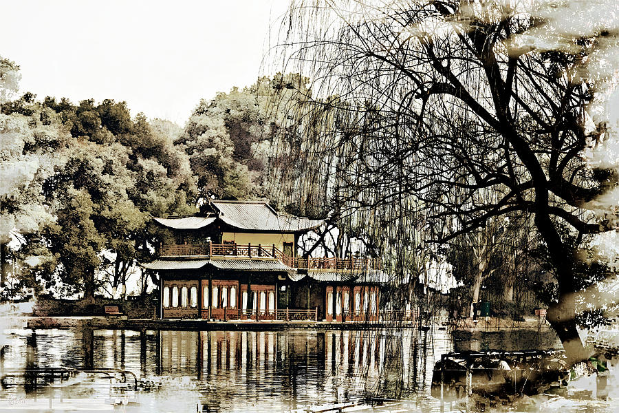 China Digital Art - Temple On The Lake by Rick Lawler