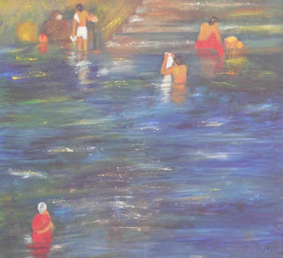 Water Painting - Temple Pond by Neena Alapatt