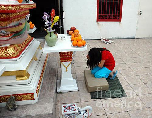 Child Photograph - Temple Prayer by Michael Ziegler