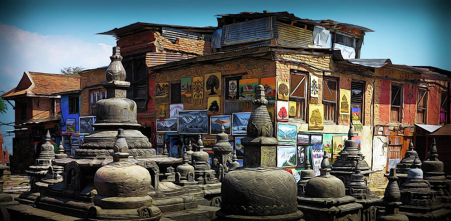 Kathmandu Photograph - Temple Shop by David Melville