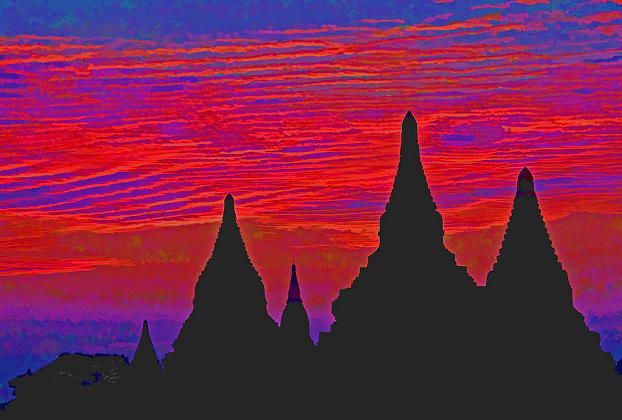 Asian Photograph - Temple Silhouettes by Dennis Cox