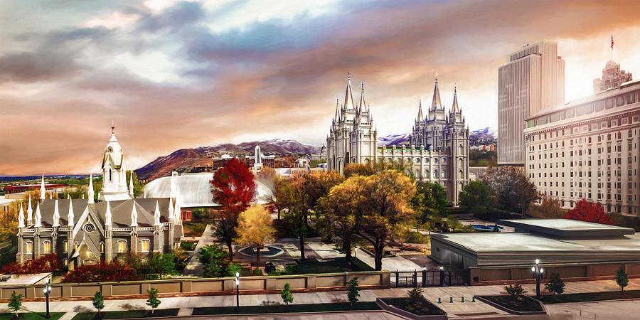 Salt Lake Painting - Temple Square #2 by Brent Borup
