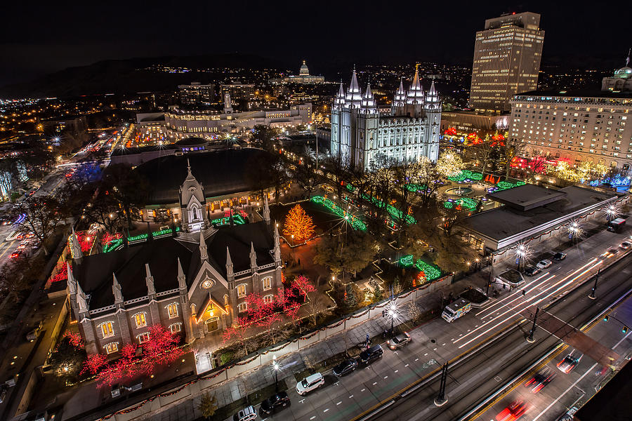 Christmas Photograph - Temple Square Christmas by Ryan Smith
