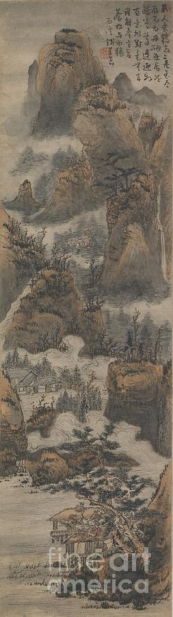 Temples Among Autumn Mountains Painting