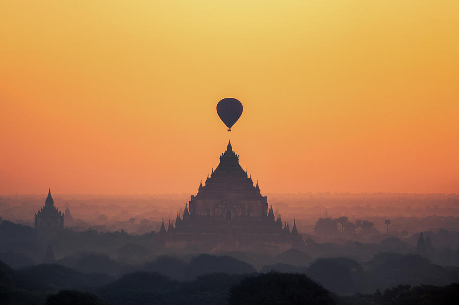 Asia Photograph - temples in Bagan with hot air balloon for traval on sun rise and by Anek Suwannaphoom