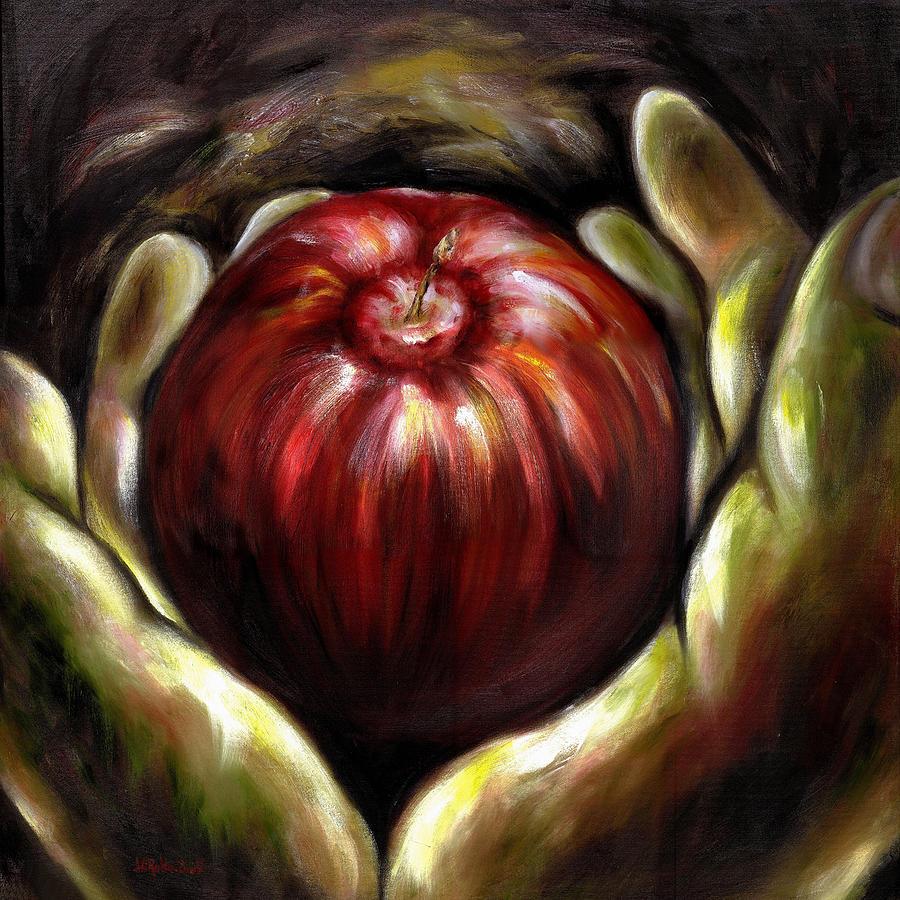 Adam And Eve Painting - Temptation... Adams Dilemma by Hiroko Sakai