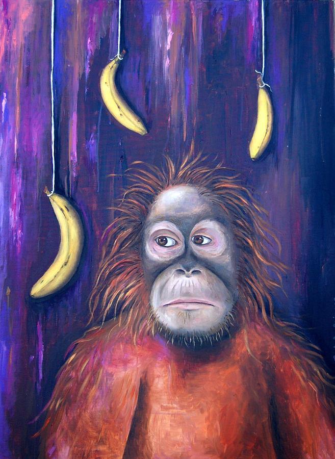 Orangutan Painting - Temptation by Leah Saulnier The Painting Maniac