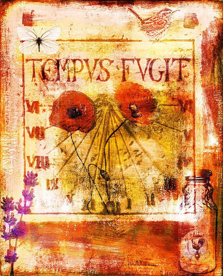 Collage Painting - Tempus Fugit by Jude Reid