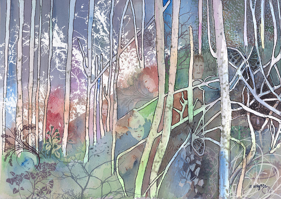 Forest Mixed Media - Ten Faces In The Mystical Forest by Arline Wagner
