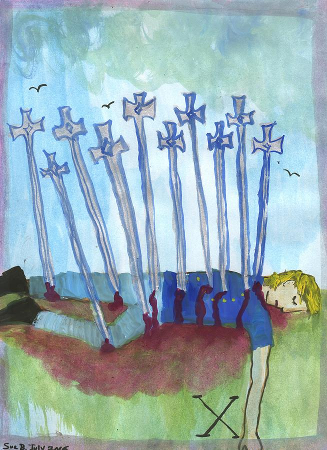 Tarot Painting - Ten Of Swords Illustrated by Sushila Burgess