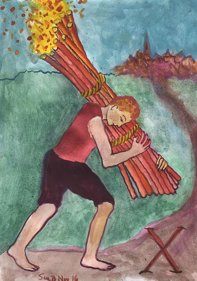 Tarot Painting - Ten Of Wands Illustrated by Sushila Burgess