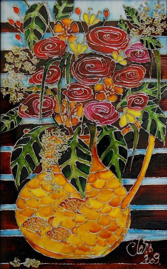 Flowers Glass Art - Ten Roses On A Bench by Cornelia Tersanszki