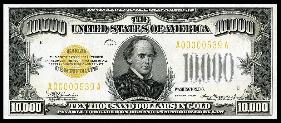 Ten Thousand Dollar Gold Certificate 1934 Series Photograph by ...