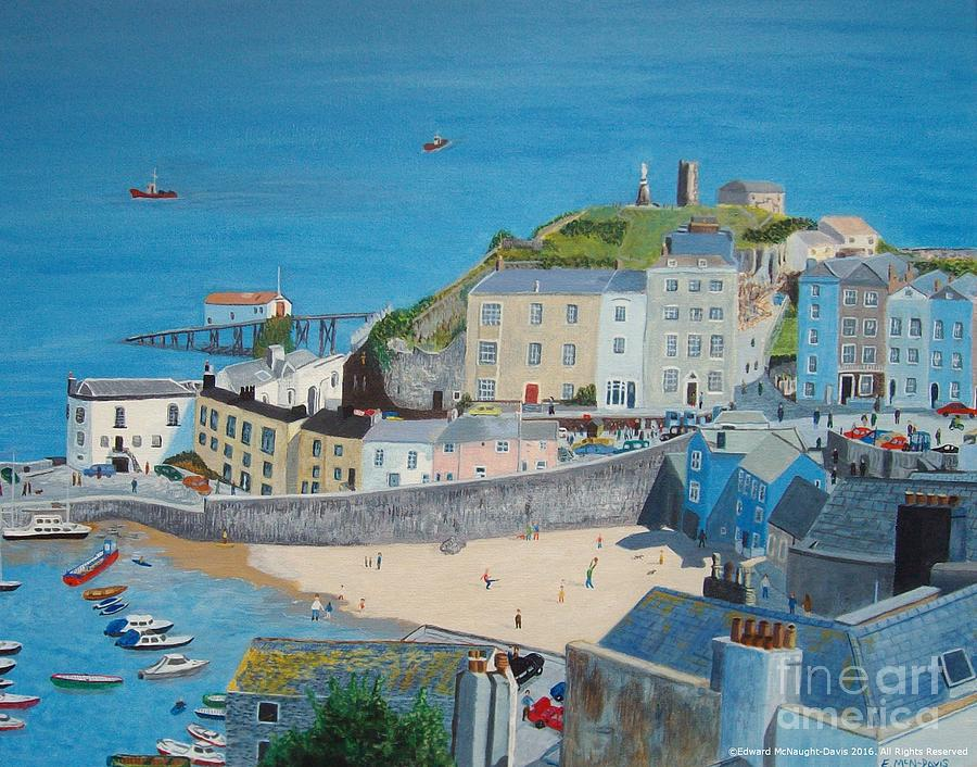 Tenby Harbour Beach in Pembrokeshire Wales by Edward McNaught-Davis