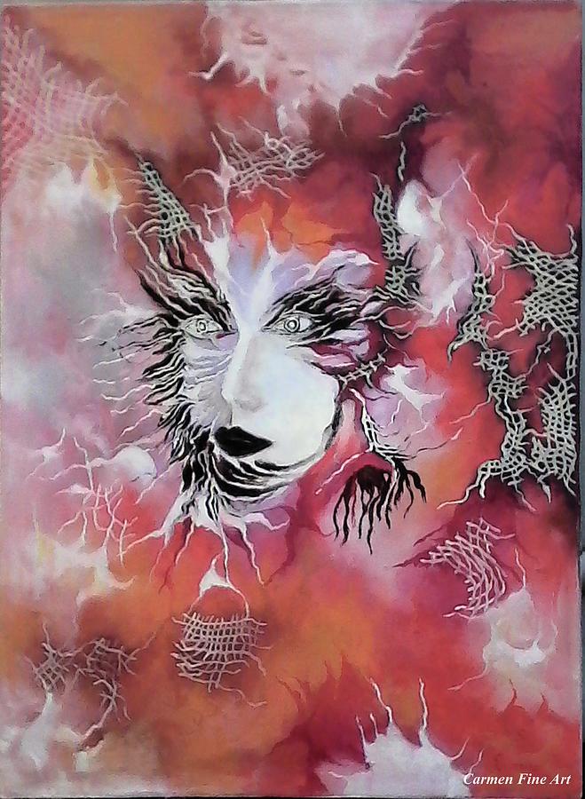 Oil Painting Painting - Tender Demon  by Carmen Fine Art