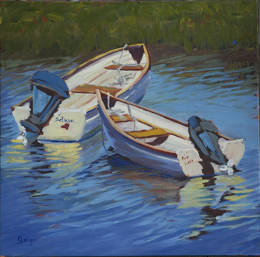 Anchorage Painting - Tenders At Anchor by Pamela Geiger