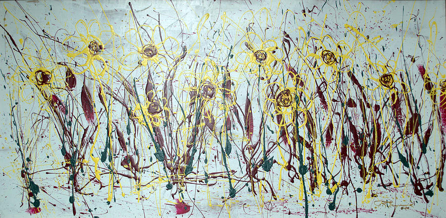 Abstract Flowers Painting - Tending My Garden by J R Seymour
