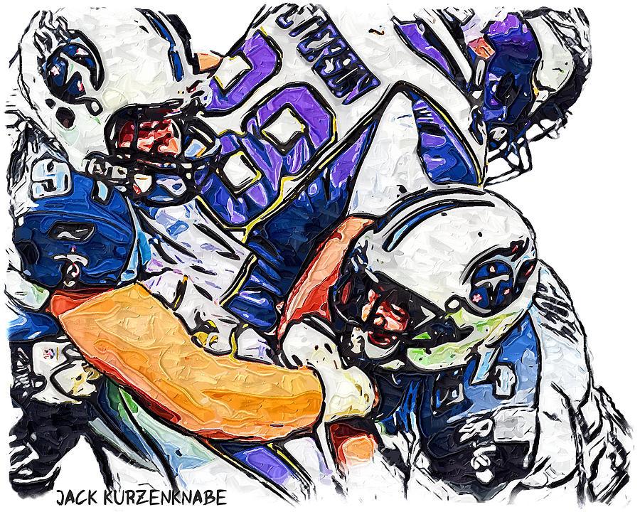 Tennessee Titans Digital Art - Tennessee Titans Karl Klug And Chris Hope And Minnesota Vikings Adrian Peterson by Jack K