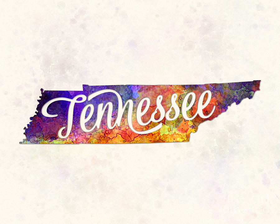 Tennessee Us State In Watercolor Text Cut Out Painting By