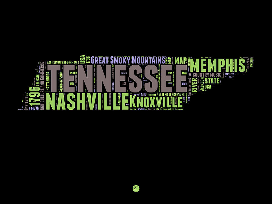 Tennessee Digital Art - Tennessee Word Cloud Map 1 by Naxart Studio