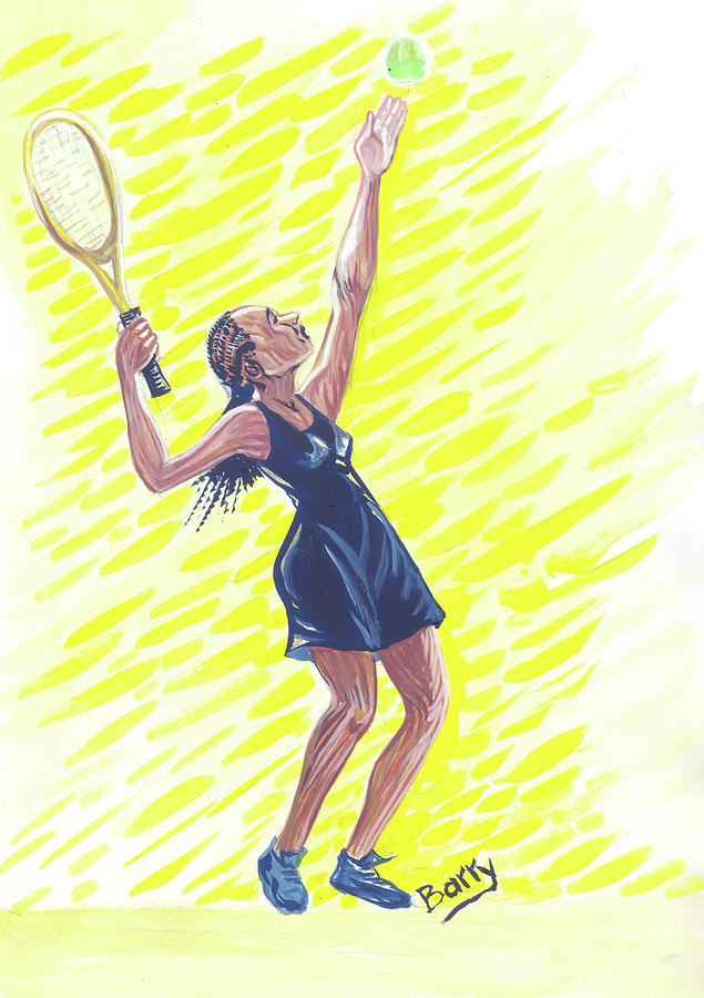 Sports Painting - Tennis 01 by Emmanuel Baliyanga