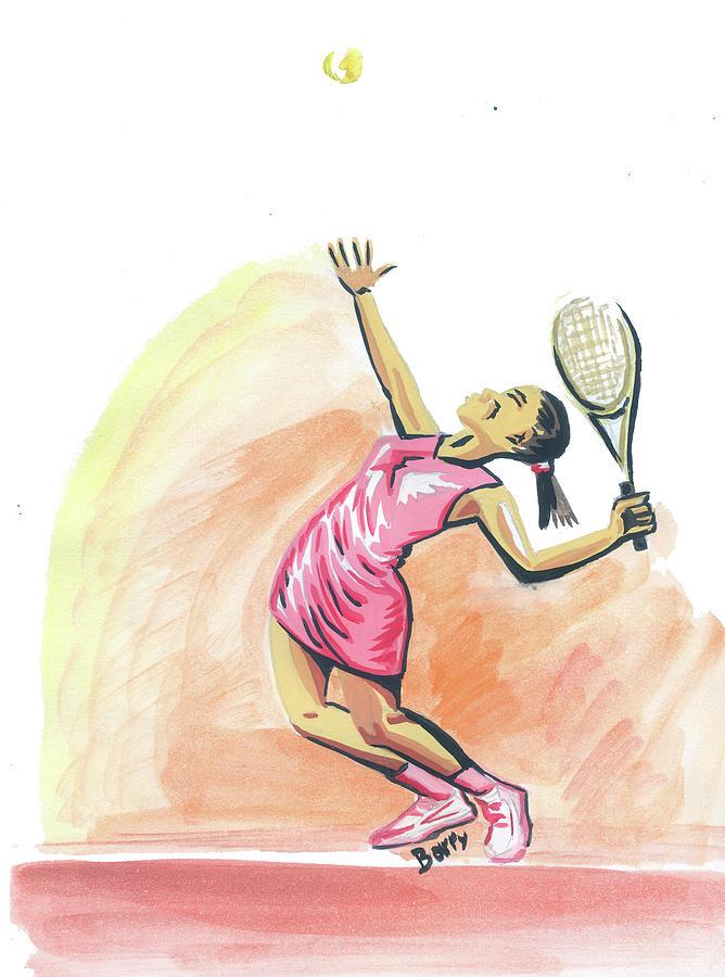 Sports Painting - Tennis 03 by Emmanuel Baliyanga