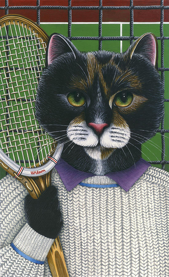 Black And White Cat Painting - Tennis Cat by Carol Wilson
