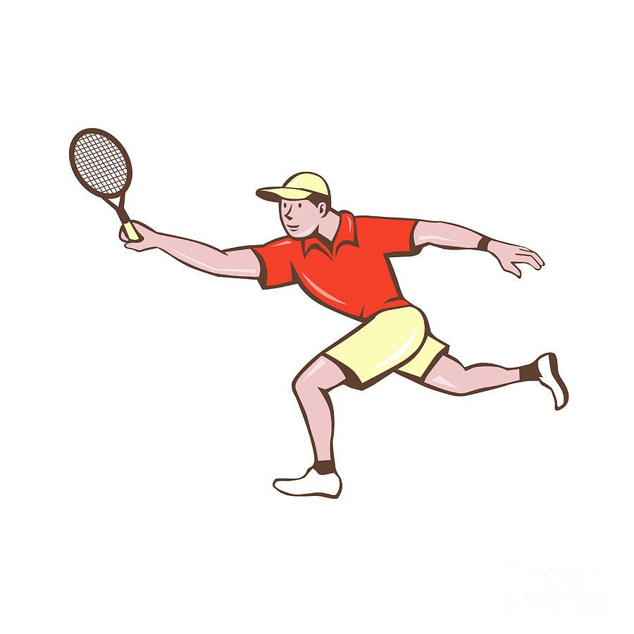 Tennis Player Racquet Forehand Cartoon Digital Art By Aloysius