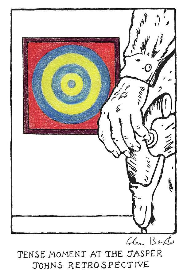 Tense Moment At The Jasper Johns Retrospective Drawing by Glen Baxter