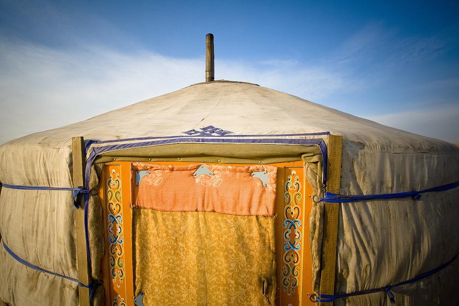 Blue Sky Photograph - Tent In The Desert Ulaanbaatar, Mongolia by David DuChemin