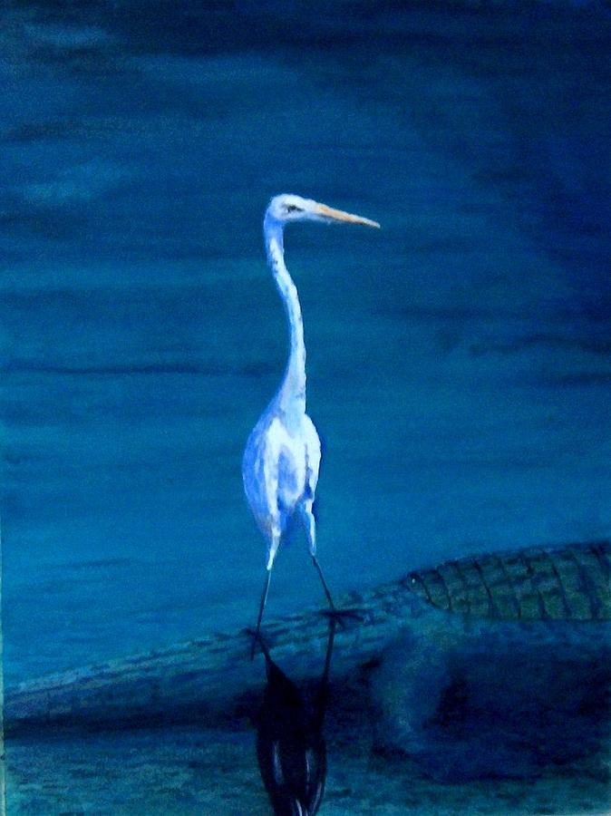 White Heron Painting - Tenuous Footing by Haldy Gifford