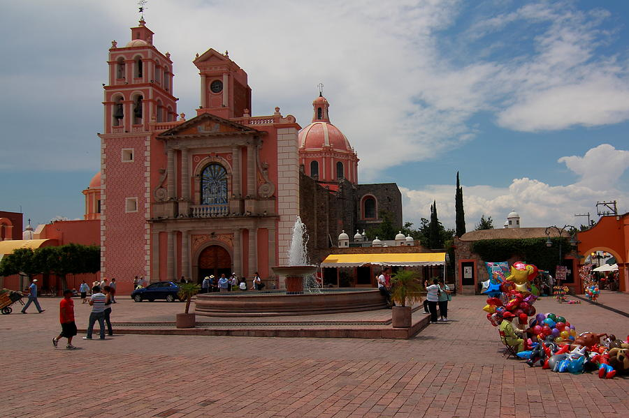 Cathedral Photograph - Tequisqueapan Main Catherdral, Mexico by Robert  McKinstry