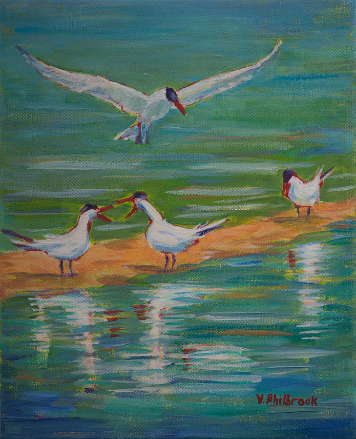 Caspian Terns Painting - Terns On Sandbar by Val Philbrook