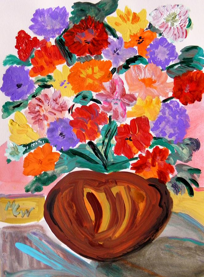 Floral Painting - Terra Cotta And Mixed Bouquet by Mary Carol Williams