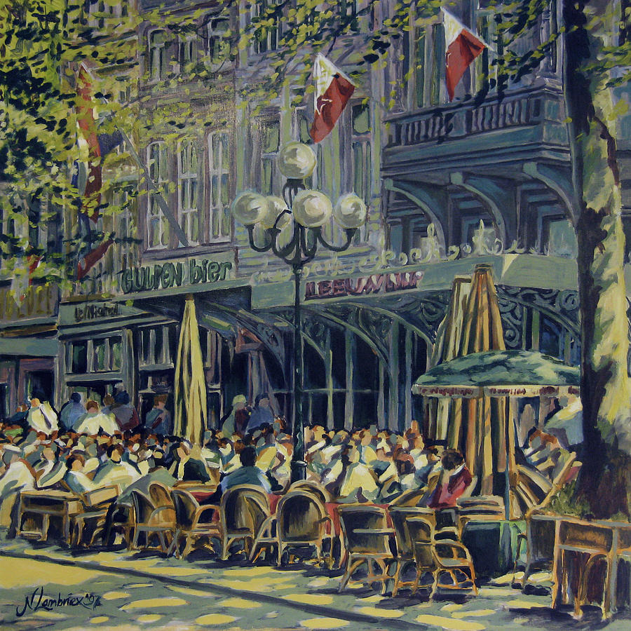 Vrijthof Painting - Terrace At The Vrijthof In Maastricht by Nop Briex