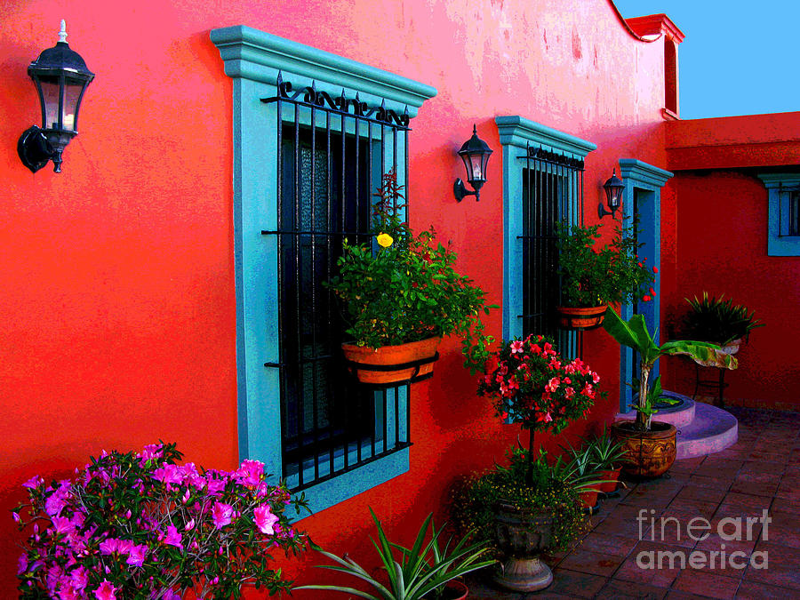 Darian Day Photograph - Terrace Windows At Casa De Leyendas By Darian Day by Mexicolors Art Photography