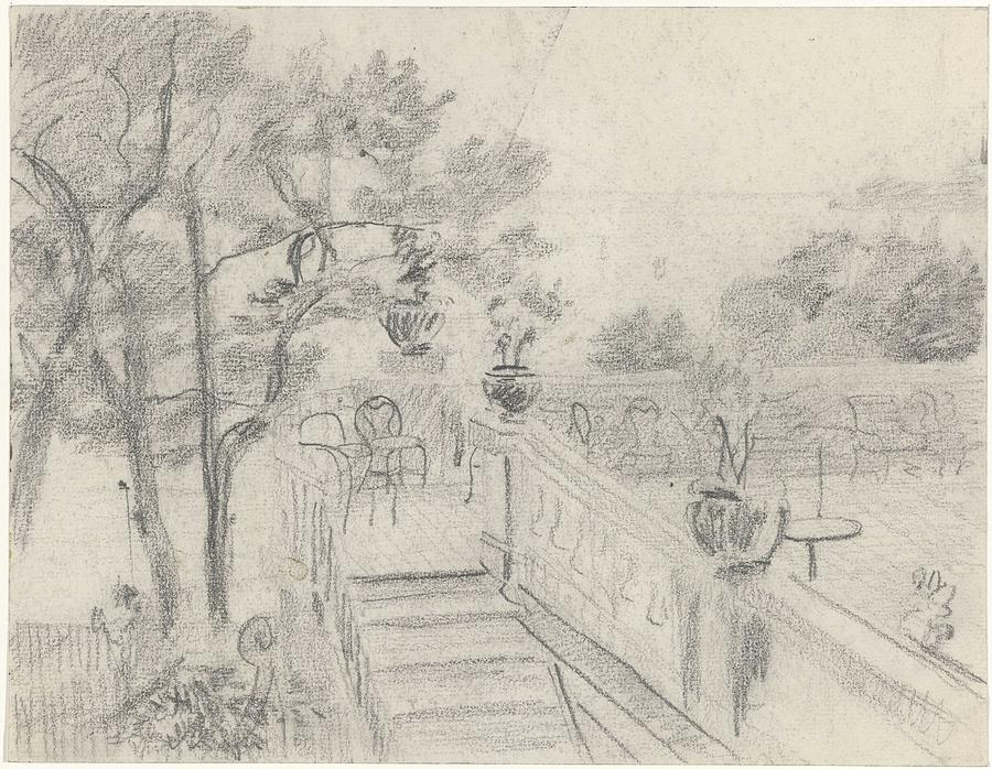 Terrace With Stairs To A Garden, Carel Adolph Lion Cachet, 1874 - 1945 Painting