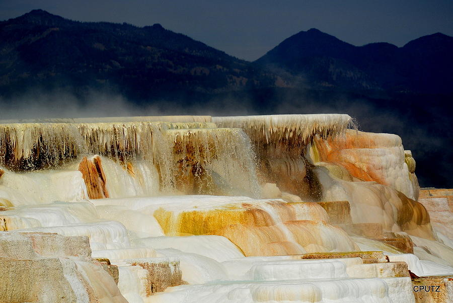 Yellowstone National Park Photograph - Terraces At Sunset by Carrie Putz