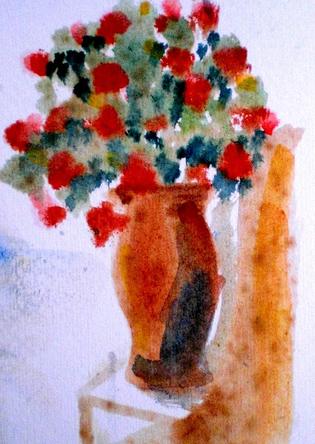 Terracotta Vase Painting - Terracotta Vase And Flowers by Maria Rosaria DAlessio