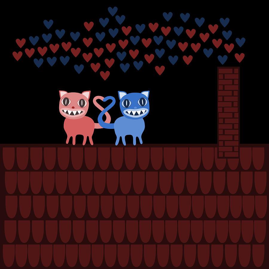 Terrible Valentine Cats Digital Art