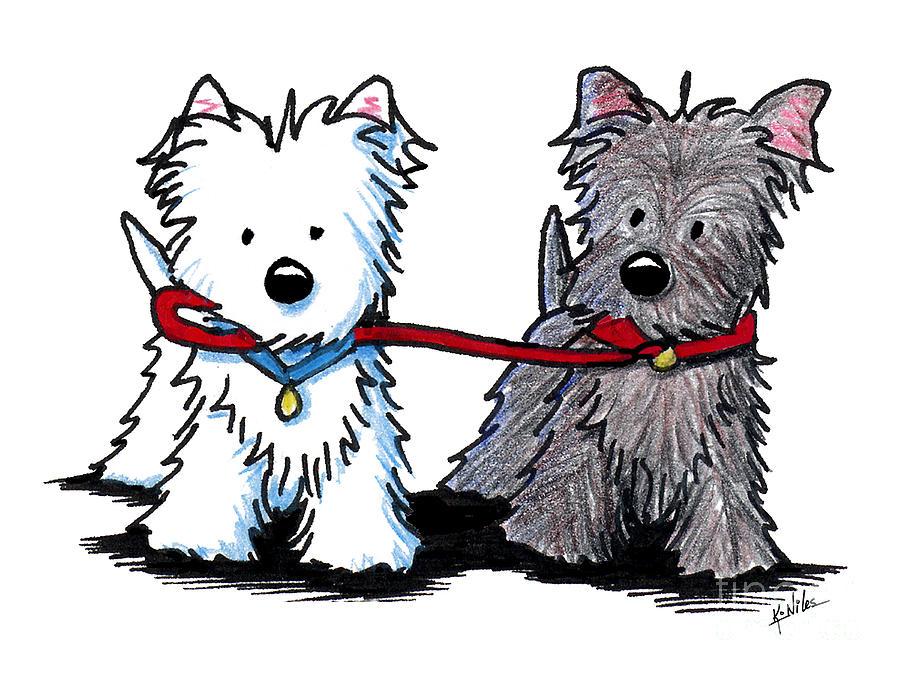 Westie Drawing - Terrier Walking Buddies by Kim Niles