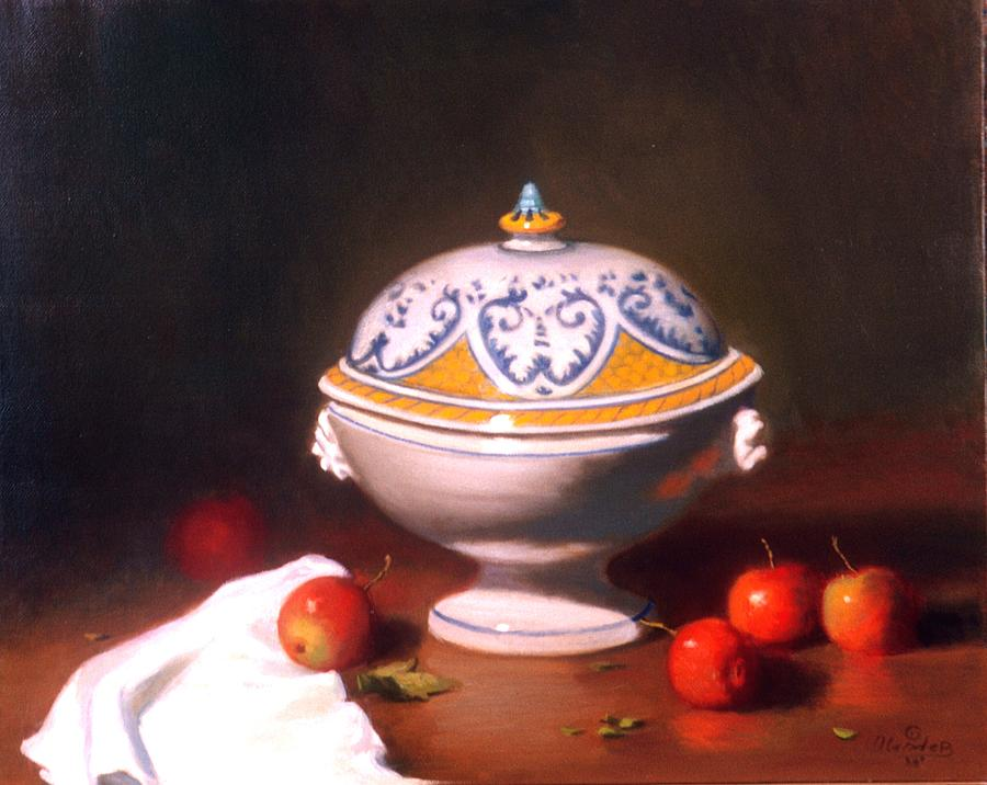 Still Life Painting - Terrine With Apples by David Olander