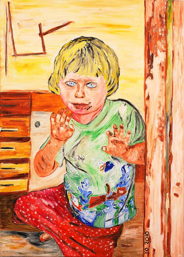 Kid Painting - Terry by Valerie Ornstein