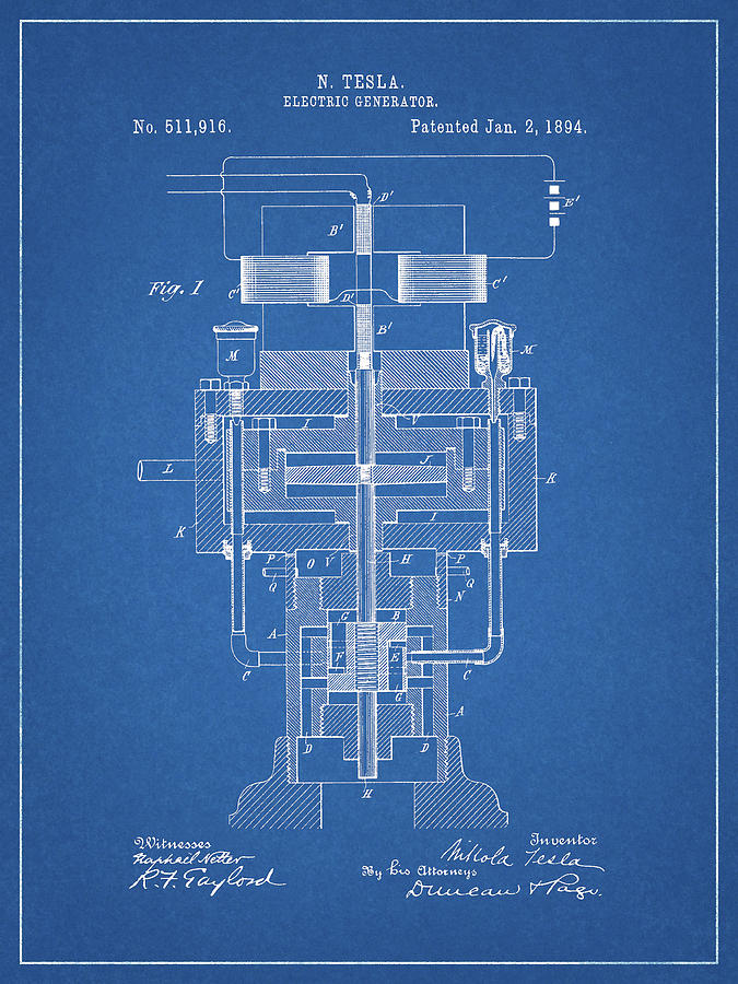 Energy Drawing - Tesla Electric Generator Patent by Dan Sproul